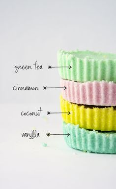 pastel coloured round bath bombs flavoured with green tea, vanilla, cinnamon and coconut