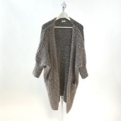 Rose Gray Faux Fur Cardigan Ones size fits most. Incredibly stretchy! 60% cotton, 40% acrylic. Don't miss out on this incredibly comfortable jacket. It's like being wrapped in a blanket all day. Tea n Cup Sweaters Cardigans