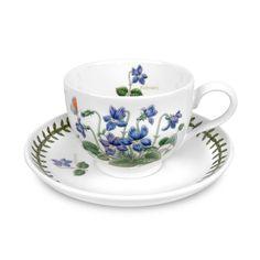 """PORTMEIRION Botanic Garden ~ 2.50/"""" Cup /& Saucer ~ SCARLET PIMPERNEL PATTERN"""