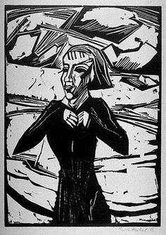 Available for sale from Henze & Ketterer & Triebold, Erich Heckel, Mädchen am Meer Woodcut, 62 × 49 cm Franz Marc, Henri Rousseau, Kandinsky, Ludwig Meidner, Karl Schmidt Rottluff, George Grosz, Emil Nolde, Woodcut Art, Expressionist Artists