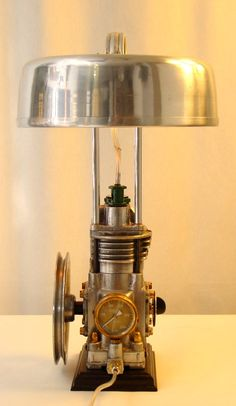COMPRESSOR Lamp  Vintage Table Desk  Lamp - Old industrial parts,   Soviet Air Compressor  from 1970`s and Grandma`s electric cooker (1950`s)   fused together in Table Lamp  with the Tehnoart technique By JK