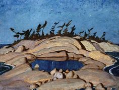 """""""Night, Pine Island"""" by Alexander Young Jackson, 1924 - Group of Seven"""