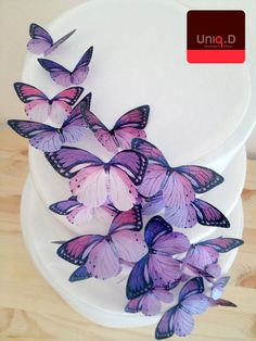 BUY 45 get 5 FREE - purple wedding cake decoration - edible butterflies cake toppers - lavender wedding cake by Uniqdots on Etsy