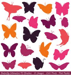 Butterfly Silhouettes Photoshop Brushes Butterfly door PinkPueblo, $8.00