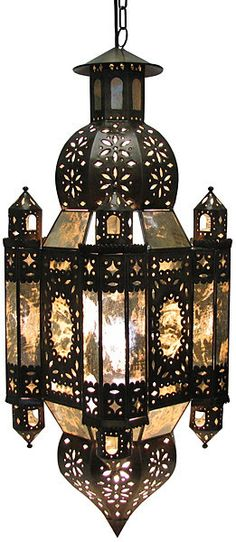 """Landlord Lantern. Exuberant lantern with edged glass. 100% handmade of tin with etched glass. It includes 3 feet of chain for easy hanging, UL wiring and socket for up to 100 W. 16""""W x 16""""D x 19""""H"""