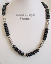 Schaef Designs Southwestern basics black onyx long tube bead necklace | New Mexico