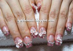 Acrylic Nails With Bows | Cynful Nails: Pink acrylic nails.