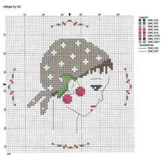 0 point de croix fille au foulard et cerises - cross stitch girl, lady with scarf and cherries