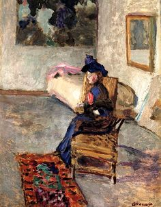 Woman with a Rose (also known as Woman in an Interior) / Pierre Bonnard - 1909