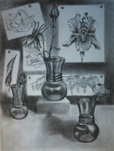 Charcoal flower drawing from my senior year at IU.