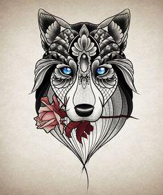 Tatuagem feminina lobo ornamental   @gabstattooart