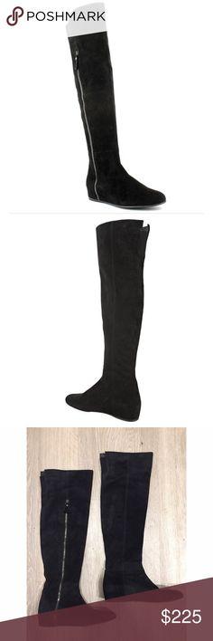 Selling this Stuart Weitzman Elf Black Suede Wedge Boots 8.5 on Poshmark! My username is: denapeanuts. #shopmycloset #poshmark #fashion #shopping #style #forsale #Stuart Weitzman #Shoes