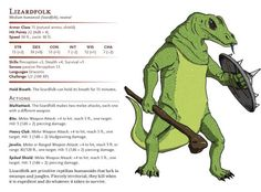 Lizardfolk are primitive reptilian humanoids that lurk in swamps and jungles. Fiercely territorial, they kill when it is expedient and do whatever it takes to survive.