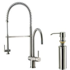 Enhance your kitchen decor with this Vigo One Handle Single Hole Pull Out Spray Bar Faucet with Soap Dispenser. Description from wayfair.ca. I searched for this on bing.com/images