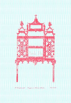 Coral Chinese Chippendale Porcelain Display on by thepinkpagoda, $40.00