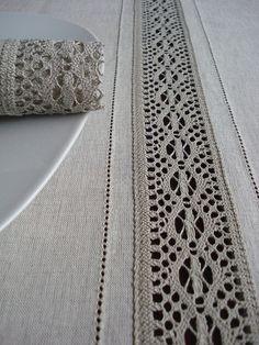 "Linen Tablecloth 95"" x 63"" Natural Lace"