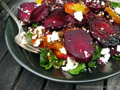 Roasted Beet & Arugula Salad w/ Goat Cheese and Balsamic Glaze Dressing Roasted-Beet-Salad-ⓒ-Michaela-at-TGE Beet Goat Cheese Salad, Roasted Beet Salad, Beet Recipes, Salad Recipes, Cooking Recipes, Healthy Recipes, Drink Recipes, Clean Eating, Gourmet