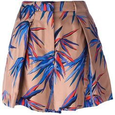 Emilio Pucci Abstract Print Pleated Shorts (29,035 INR) ❤ liked on Polyvore featuring shorts, brown, pleated shorts, emilio pucci, silk shorts, emilio pucci shorts and brown shorts