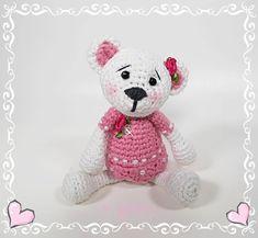 UNIQUE CREATION Bio Häkelbär aus dem Hause KYBELE 17 cm Bio Baumwolle Schurwollfüllung Teddy Bear, Toys, Animals, Vintage, Amigurumi, Crochet Stuffed Animals, Craft Gifts, Cotton, Kids