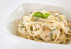 Creamy Fettuccine with White Beans and Basil