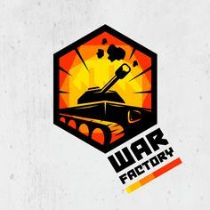 """Logo for miniatures and board games shop """"Warfactory"""". It's combine of tank with factory symbols in hex shape."""