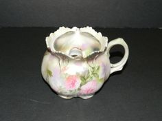 Antique RS Prussia Sugar Bowl w/Lid Floral Pink Roses Cottage Shabby - Damaged #RSPrussia