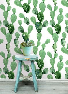 Cactus Wall Mural -  Self Adhesive Fabric Wallpaper -  Removable, Repositionable, Reusable. EASY  PEEL & STICK !! R0006