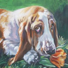 Basset Hound dog art portrait CANVAS print of LA Shepard dog painting 8x8 by TheDogLover on Etsy https://www.etsy.com/listing/49105185/basset-hound-dog-art-portrait-canvas