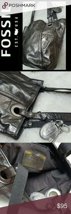 Fossil Long Live Vintage Leather Purse Fossil Signature Brand in Metallic Gray Leather! Features the Long Live Vintage Collection Style with Double Handles for Shoulder! Comes with Fossil FOB with Silver Tone Hardware!  Snap Button Main Closure Opens to Fully Lined Interior with Zipped and Slip Pockets! Approx Size 10Hx9Wx4D Inches, Strap Drop About 10 inches, Used in Mint Condition! Fossil Bags
