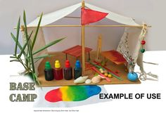 Base Camp  white flat-pack tent kit; DIY food dye craft; miniature craft kit; rainy day activity; holiday fun; educational activity Rainy Day Activities, Holiday Activities, Craft Kits, Diy Kits, Importance Of Recycling, Tent Fabric, Food Dye, Miniature Crafts, Family Crafts