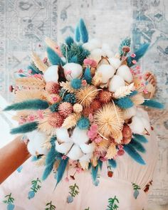 Dried Flowers Bouquet Wedding Gifts For Parents From Bride And Groom Light Decoration For Wedding Drying Petals Dried Flower Bouquet, Dried Flowers, Teal Flowers, Wedding Bouquets, Wedding Flowers, Bunny Tail, Morning Flowers, Deco Floral, Flower Aesthetic
