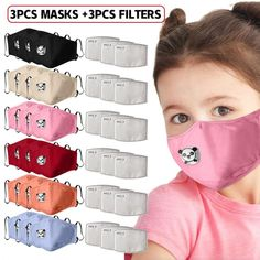 3pc Kids Masks With 3pc Filter Cotton Mascarillas  Save this photo on your board if you ❤️ it. Face Mask Price, Ribbon Headbands, Rainfall Shower, Two Way Radio, Boutique Hair Bows, Mouth Mask, Mask For Kids, Baby Skin, Mascara