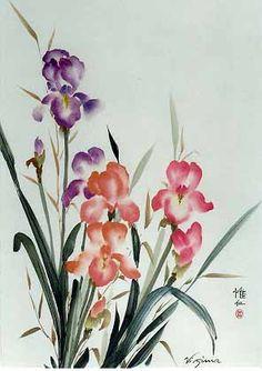 Dancing Brush Note Cards - iris