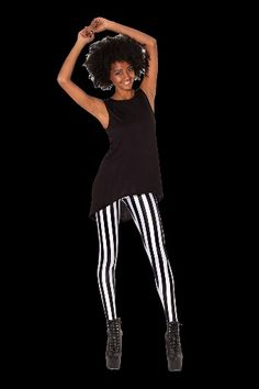 Beetlejuice Leggings Black Milk, Beetlejuice, My Black, Striped Pants, Leggings, Collection, Fashion, Moda, Stripped Pants
