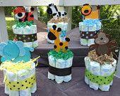 OWL 3 Tier diaper cake Forest theme, baby shower decoration/centerpiece. $38.00, via Etsy.