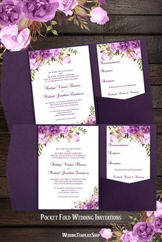 Pocket Fold Wedding Invitations Romantic Blossoms Purple, Lavender and Lilac