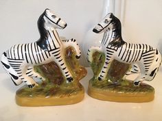 Vintage Staffordshire Zebras Pair Staffordshire by ArtandAntlers