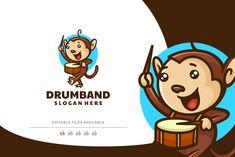 Drumb Monkey Mascot Cartoon Logo by Artnivora.Std on @creativemarket