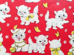 Vintage Gift Wrapping Paper - Juvenile Kid's Birthday - Red White and Yellow Kitty Cat - 1 Unused Full Sheet Birthday Gift Wrap
