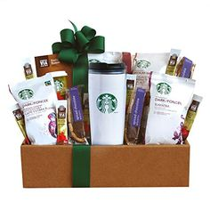 Coffee Gift Baskets - California Delicious Starbucks Coffee Mornings Gift Box. This Starbucks coffee gift will be a hit for the coffee lover on the go. This coffee gift features a red Starbucks mug which is sure to become a daily favorite.