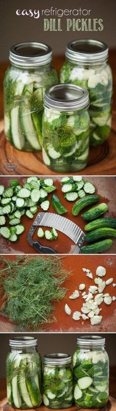 It only takes a few minutes to make Easy Refrigerator Dill Pickles. Once you make your own homemade version, you'll never buy store bought again. I want to try these - love pickles! Fingers Food, Healthy Snacks, Healthy Recipes, Pickeling Recipes, Recipies, Cucumber Recipes, Garlic Recipes, Cooker Recipes, Homemade Pickles