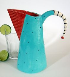 RED & turquoise ceramic pitcher by maryjudy on Etsy, $85.00