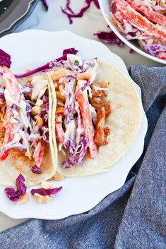 Instant Pot Pressure Cooker Barbecue Pork Tacos, topped with coleslaw and pineapple, perfect for an easy meal for the weekday or for an entertaining meal. #tacos #weeknightdinners, #instantpotrecipes #healthyrecipes #easymeals #pressurecooker #electricpressurecooker #barbecue