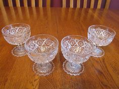4 Rare Gorgeous EAPG Cambridge Inverted Feather Clear Glass Low Sherbet Dishes