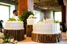 I love the idea of having tree stumps as the holder of the cake(s) Or even thin slabs of wood for the table settings.