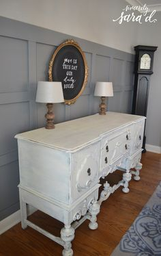 Love the side board!   I love square wall paneling!  This blog has a great tutorial for this DIY wall treatment.