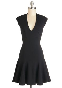 ModCloth LBD Mid-length Cap Sleeves Fit & Flare A Dash of Flair Dress in Black