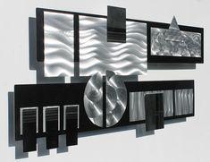 Black & Silver moderne mur métal Sculpture par JonAllenMetalArt