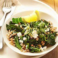 BHG's Newest Recipes:Collard Greens with Lemon, Farro, and Feta Recipe