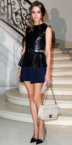 FRIDAY STYLE CRUSH: Olivia Palermo… leather, peplum, pleats, shorts and wedges...oh my! What's NOT to love?!